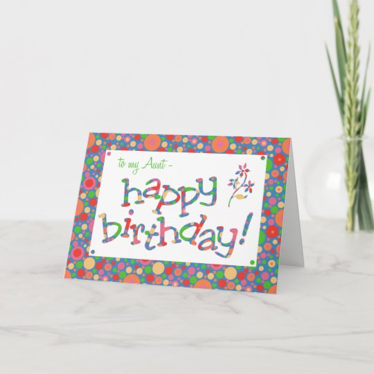 Fun Bright Spots On Blue For Aunt Birthday Card
