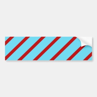 Fun Bright Teal Turquoise Red Diagonal Stripes Bumper Sticker