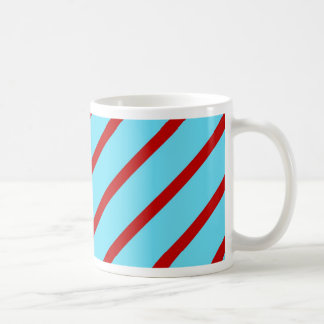 Fun Bright Teal Turquoise Red Diagonal Stripes Coffee Mug