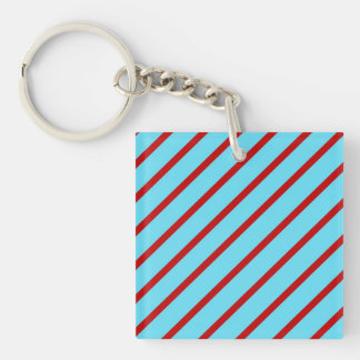 Fun Bright Teal Turquoise Red Diagonal Stripes Keychain
