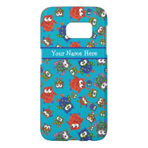 Fun Brightly Coloured Owls on Turquoise Samsung Galaxy S7 Case