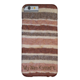 fun brown and beige stripy knitted retro design barely there iPhone 6 case