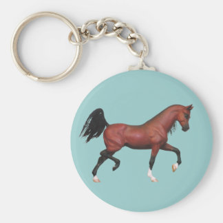 Fun Brown Horse Trotting Bay Arabian Art Key Chain