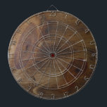 """Fun Brown Knotty Rustic Wood Look Background Dart Board<br><div class=""""desc"""">Dartboard has a knotty wood grain look for home, office or pub darts. Aim for the big knot in the middle. Beautiful wood look. (Product is NOT real wood.) Rustic knotty pine wood with the interesting nuances and imperfections we find in Mother Nature. Wood knots are cool! Personalize it with...</div>"""