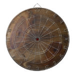 Fun Brown Knotty Rustic Wood Look Background Dartboard With Darts