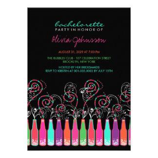 Fun Bubbly Celebrations Bachelorette Party Invite Personalized Announcements