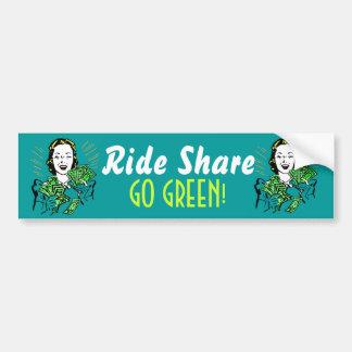 Fun bumper sticker Ride Share to Go Green Vintage
