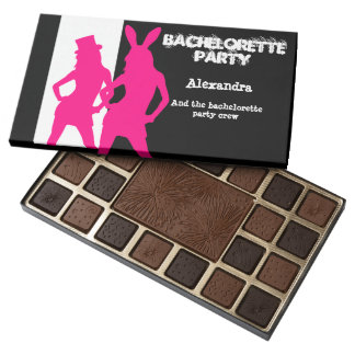 Fun bunny girl personalized bachelorette party 45 piece box of chocolates