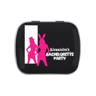 Fun bunny girl personalized bachelorette party candy tins