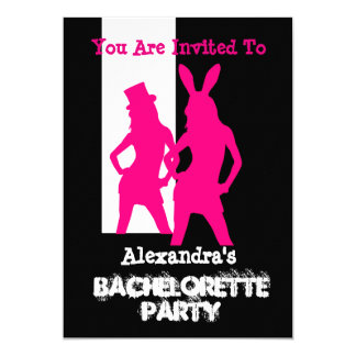Fun bunny girl personalized bachelorette party card