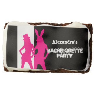 Fun bunny girl personalized bachelorette party rectangular brownie