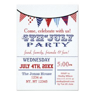 Fun Bunting July 4th Holiday party Invitation