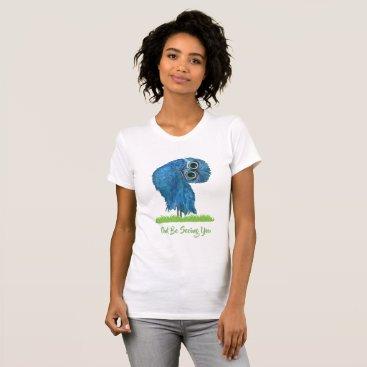 Beach Themed Fun Burrowing Owl in Green and Blue T-Shirt