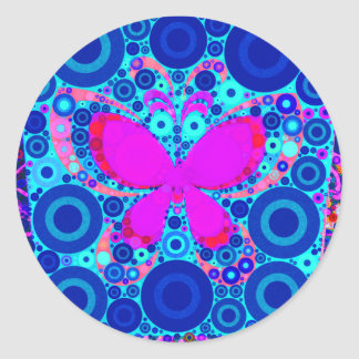 Fun Butterfly Concentric Circle Mosaic Blue Pink Classic Round Sticker