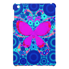 Fun Butterfly Concentric Circle Mosaic Blue Pink iPad Mini Cases
