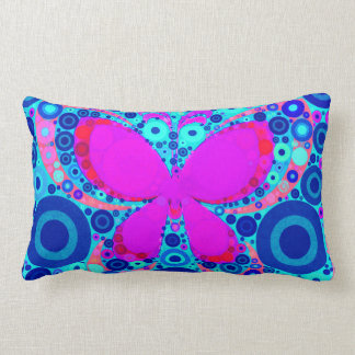 Fun Butterfly Concentric Circle Mosaic Blue Pink Pillow