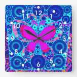 Fun Butterfly Concentric Circle Mosaic Blue Pink Square Wall Clock