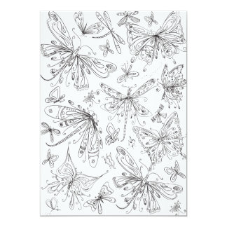 Fun Butterfly Dragonfly Whimsical Coloring Card