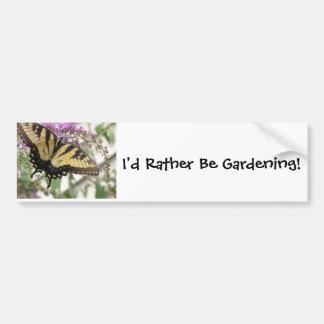 Fun Butterfly Gardening Bumper Sticker Car Bumper Sticker