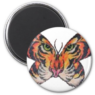 fun butterfly tiger 2 inch round magnet