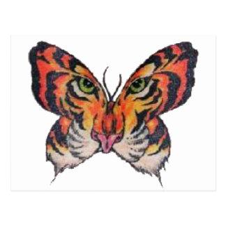 fun butterfly tiger postcard