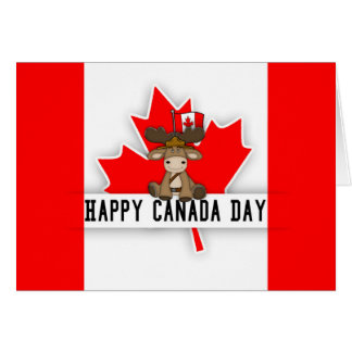 Fun Canada Day Design With Moose In Mountie Hat Card