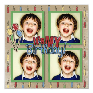 Fun Candles and Balloons Birthday photo invitation