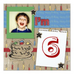 "Fun Candles and Birthday cake photo invitation 5.25"" Square Invitation Card"