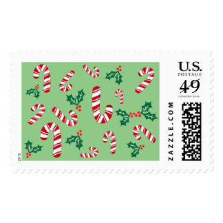 Fun Candy Cane Christmas Green Hollies Pattern Postage Stamp