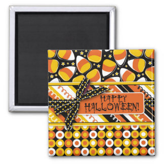Fun Candy Corn Halloween colors 2 Inch Square Magnet