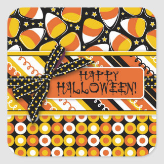 Fun Candy Corn Halloween colors Square Sticker