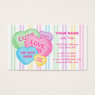 Fun business card job titles gallery card design and card template love bugs business cards templates zazzle fun candy hearts business card reheart gallery colourmoves Image collections