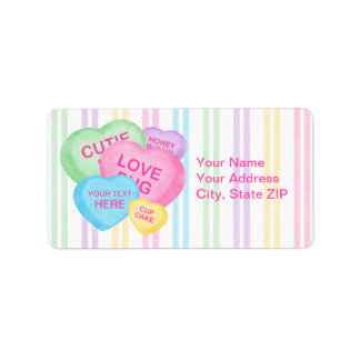 Fun Candy Hearts Label