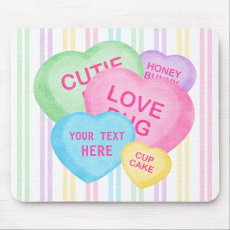 Fun Candy Hearts Mouse Pad