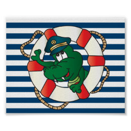 Fun Captain Alligator Poster