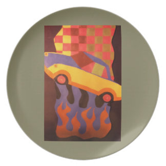 Fun car design melamine plate