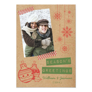 Fun Cardboard Candy Tape Holiday Flat Card Announcements