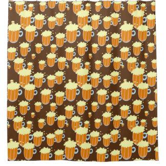 Fun Cartoon Beer or Root Beer Mug Pattern Shower Curtain
