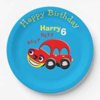 Fun Cartoon Car Themed Birthday Paper Plate