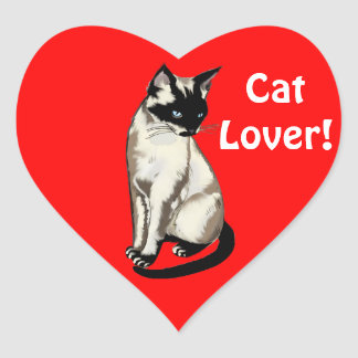 Fun Cartoon Cat Designs for kitty-loving folks! Heart Sticker