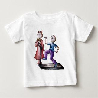 Fun Cartoon Couple Treadmill Boy and Cookie Girl Baby T-Shirt