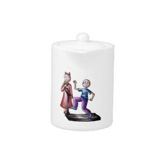 Fun Cartoon Couple Treadmill Boy and Cookie Girl Teapot