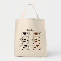 Fun Cartoon Dairy Cows Personalized Tote Bag