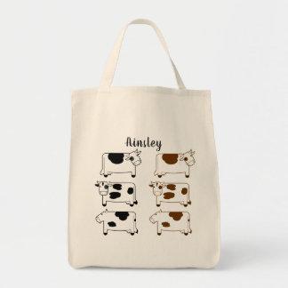 Fun Cartoon Dairy Cows Personalized Tote Bag