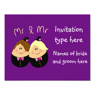 Fun cartoon gay men wedding invitation