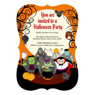 Fun cartoon Halloween monster costume party group, Card