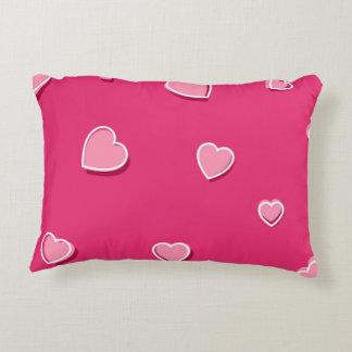 Fun Cartoon Hearts on Pink Accent Pillow