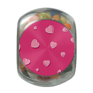 Fun Cartoon Hearts on Pink Jelly Belly Candy Jars
