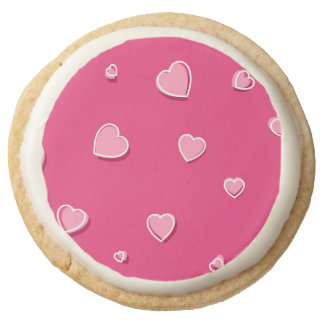 Fun Cartoon Hearts on Pink Round Shortbread Cookie