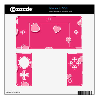 Fun Cartoon Hearts on Pink 3DS Decals